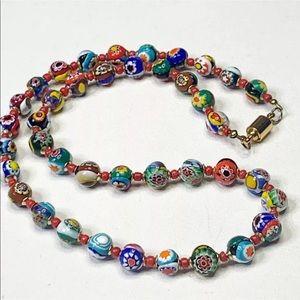 Millefiori Bead Necklace Italian art glass